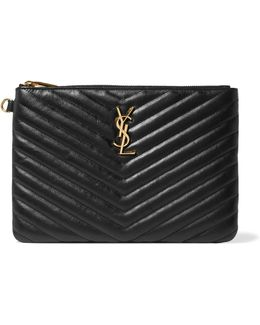 Monogramme Quilted Textured-leather Pouch
