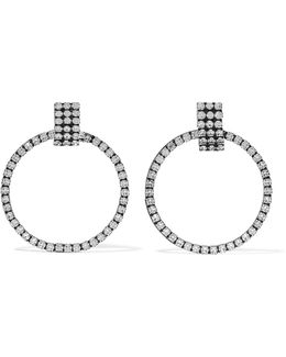 Stefano Oxidized Silver-plated Swarovski Crystal Hoop Earrings
