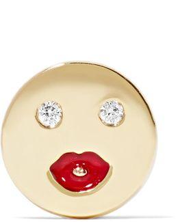 Mwa Enameled 14-karat Gold Diamond Earring