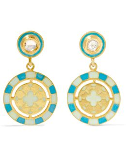 18-karat Gold, Diamond And Enamel Earrings