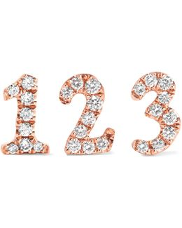 Number 18-karat Rose Gold Diamond Earring