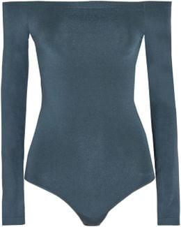 Sheen Light Off-the-shoulder Stretch-knit Bodysuit