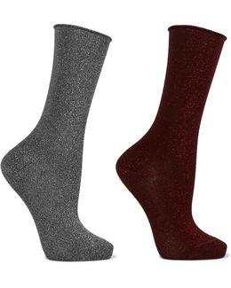 Set Of Two Lurex Socks