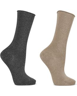 Set Of Two Metallic Cotton-blend Socks