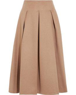 Pleated Camel Hair Midi Skirt