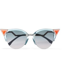 Embellished Cat-eye Silver-tone And Acetate Sunglasses
