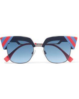 Striped Cat-eye Acetate And Gunmetal-tone Sunglasses