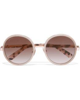 Glittered Round-frame Acetate Sunglasses