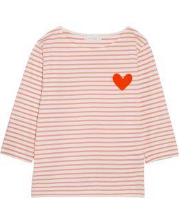 Velvet-appliquéd Striped Cotton-jersey Top