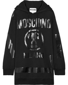 Oversized Printed Cotton-jersey Hooded Top