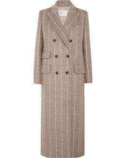 Pinstriped Wool Coat