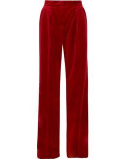 Cotton-blend Velvet Wide-leg Pants