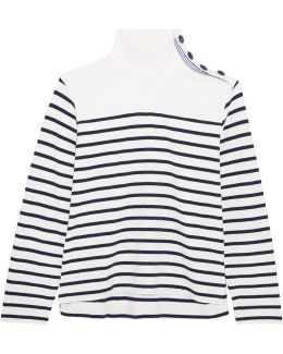 Button-embellished Striped Cotton Top