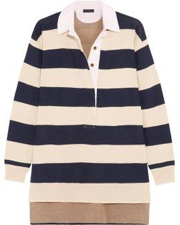 Garret Oversized Striped Merino Wool Polo Top