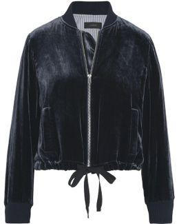Cropped Velvet Bomber Jacket