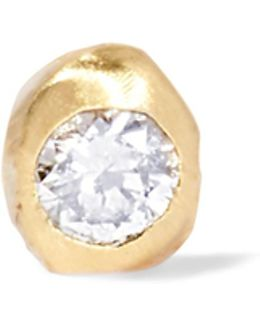 Nugget 10-karat Gold Diamond Earring