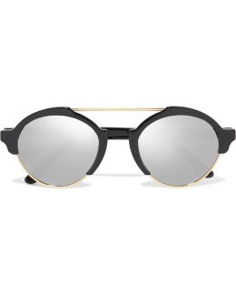 Milan Iii Round-frame Gold-tone And Acetate Sunglasses