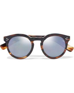 Leonard Ii Round-frame Acetate Mirrored Sunglasses