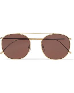 Mykonos Ii Round-frame Gold-tone Sunglasses