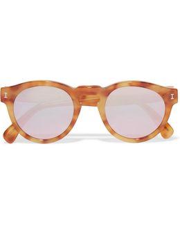 Leonard Round-frame Tortoiseshell Acetate Mirrored Sunglasses