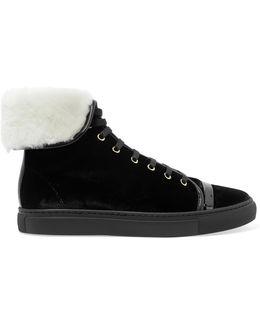 Shearling-lined Velvet High-top Sneakers