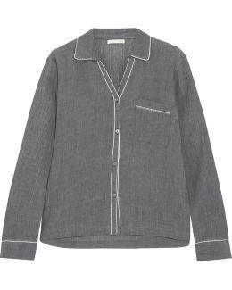 Delaney Crinkled-cotton Gauze Pajama Shirt
