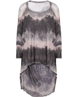 Distressed Tie-dyed Cotton-blend Jersey Top