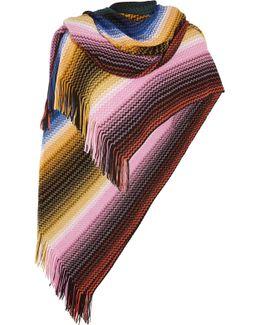 Fringed Crochet-knit Wool-blend Poncho