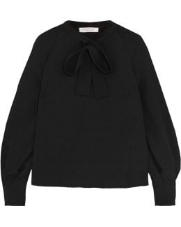 Pussy-bow Crepe Blouse