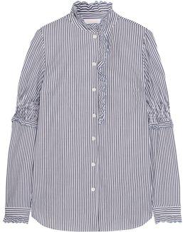 Ruffled Striped Cotton Blouse
