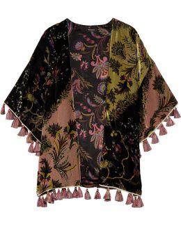 Reversible Tasseled Printed Velvet And Silk-satin Kimono