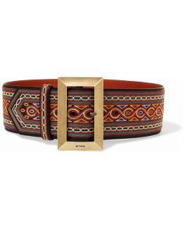 Embroidered Leather Waist Belt
