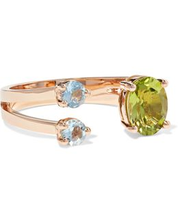 18-karat Rose Gold, Peridot And Aquamarine Ring