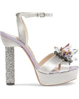 Glacia Embellished Velvet And Lame Sandals