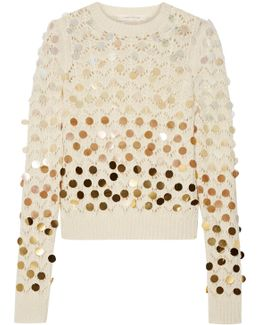 Sequin-embellished Wool And Cashmere-blend Sweater