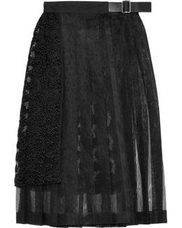 Pleated Embroidered Tulle Midi Skirt