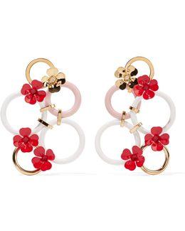 Gold-tone And Enamel Earrings