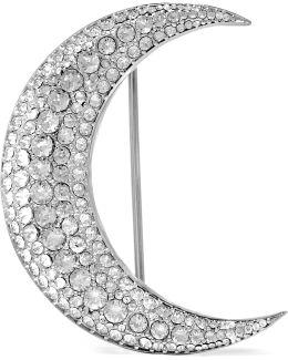 Silver-tone Crystal Brooch