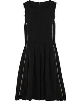 Zip-embellished Frayed Crepe Dress