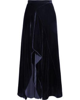Haxby Draped Velvet Midi Skirt