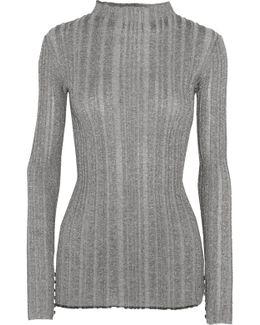 Metallic Ribbed-knit Sweater