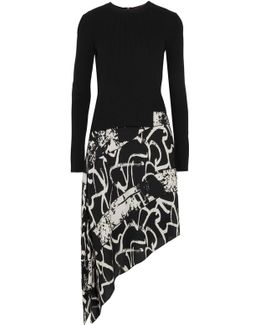 Asymmetric Ribbed-knit And Printed Silk-crepe Dress