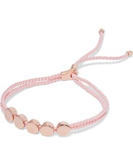 Linear Bead Rose Gold Vermeil And Woven Bracelet