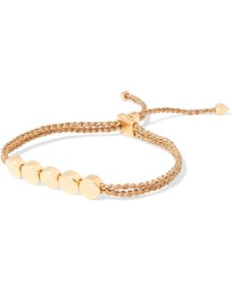 Linear Bead Gold Vermeil And Woven Bracelet