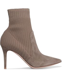 Katie Suede And Ribbed-knit Ankle Boots
