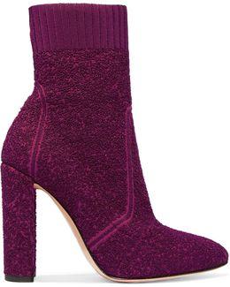 Isa Bouclé-knit Ankle Boots