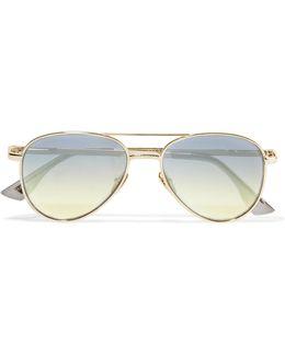 Imperium Aviator-style Gold-tone Sunglasses