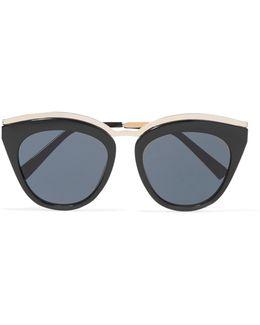 Eye Slay Cat-eye Acetate And Gold-tone Sunglasses