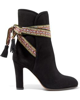 Jacquard-trimmed Suede Ankle Boots