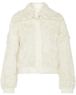 Camilla Faux Patent Leather-trimmed Shearling Coat